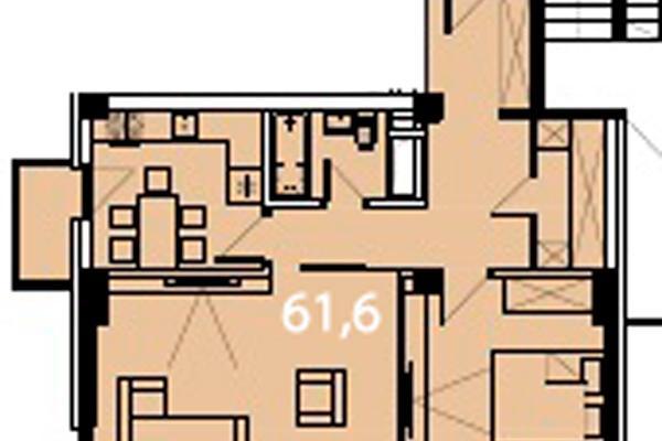 Двухкомнатные апартаменты с балконом и видом на море floorplan 1