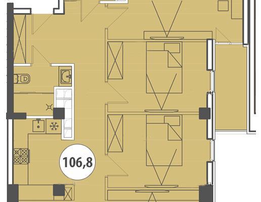 Трехкомнатные апартаменты с видом на море floorplan 1
