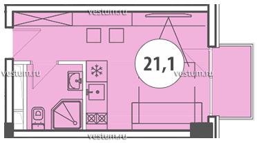 Однокомнатные апартаменты комфорт класса floorplan 1
