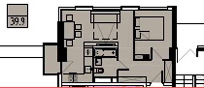 Двухкомнатная квартира в новостройке с балконом и видом на море floorplan 1