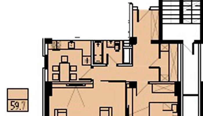 Продажа трехкомнатных апартаментов с видом на море floorplan 1