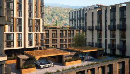 Апартаменты в зеленом районе с видом на горы