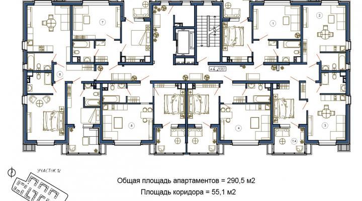 Отдельные апартаменты класса Люкс floorplan 1